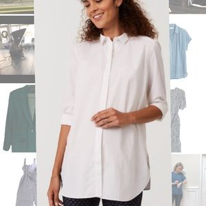 Oversized white long sleeve button down